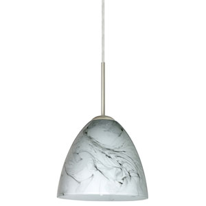 Vila Satin Nickel One-Light LED Mini Pendant with Marble Grigio Glass