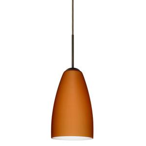 Riva 9 Bronze One-Light LED Mini Pendant with Amber Matte Glass