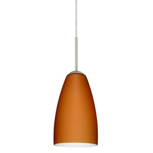 Riva 9 Satin Nickel One-Light LED Mini Pendant with Amber Matte Glass