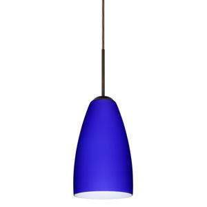 Riva 9 Bronze One-Light LED Mini Pendant with Cobalt Blue Matte Glass