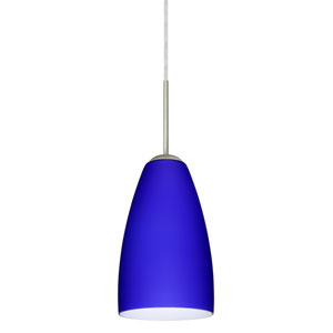Riva 9 Satin Nickel One-Light LED Mini Pendant with Cobalt Blue Matte Glass