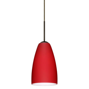 Riva 9 Bronze One-Light LED Mini Pendant with Ruby Matte Glass