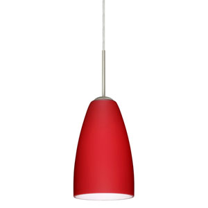 Riva 9 Satin Nickel One-Light LED Mini Pendant with Ruby Matte Glass