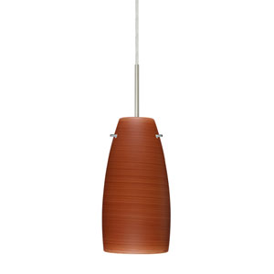 Tao 10 Satin Nickel One-Light LED Mini Pendant with Cherry Glass, Flat Canopy