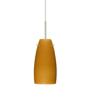 Tao 10 Satin Nickel One-Light LED Mini Pendant with Oak Glass, Flat Canopy