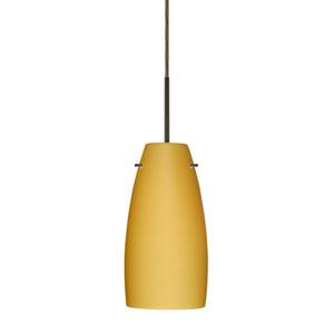 Tao 10 Bronze One-Light LED Mini Pendant with Vanilla Matte Glass, Flat Canopy