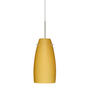 Tao 10 Satin Nickel One-Light LED Mini Pendant with Vanilla Matte Glass, Flat Canopy