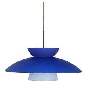 Trilo 15 Bronze One-Light LED Pendant with Blue Matte Glass