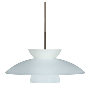 Trilo 15 Bronze One-Light LED Pendant with Frost Glass