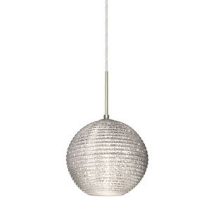 Kristall 8 Satin Nickel One-Light LED Pendant with Glitter Glass, Flat Canopy