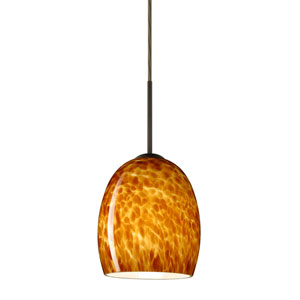 Lucia Bronze 6.One-Light LED Mini Pendant with Amber Cloud Glass, Flat Canopy
