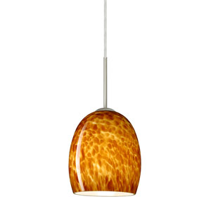 Lucia Satin Nickel 6.One-Light LED Mini Pendant with Amber Cloud Glass, Flat Canopy