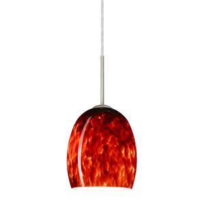 Lucia Satin Nickel 6.One-Light LED Mini Pendant with Garnet Glass, Flat Canopy