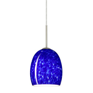 Lucia Satin Nickel 6.One-Light LED Mini Pendant with Blue Cloud Glass, Flat Canopy