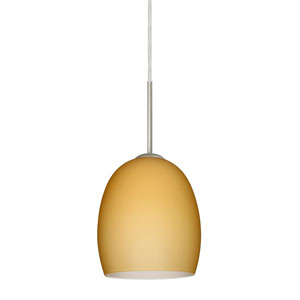 Lucia Satin Nickel 6.One-Light LED Mini Pendant with Vanilla Matte Glass, Flat Canopy