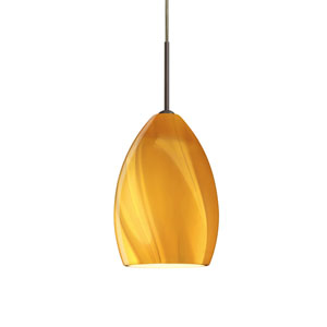 Euka Bronze One-Light LED Mini Pendant with Honey Glass