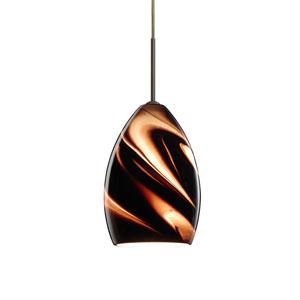 Euka Bronze One-Light LED Mini Pendant with Smoke Twist Glass