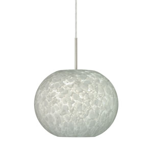 Luna Satin Nickel 10.One-Light LED Pendant with Carrera Glass, Flat Canopy