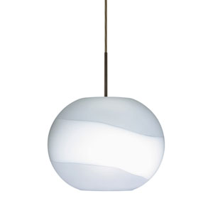 Luna Bronze 10.One-Light LED Pendant with Opal- Frost Glass, Flat Canopy
