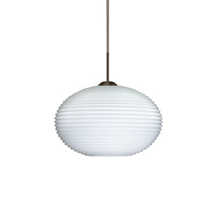 Pape 10 Bronze 10.One-Light LED Pendant with Opal Ribbed Glass, Flat Canopy