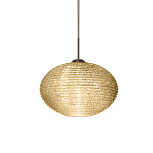 Pape 10 Bronze 10.One-Light LED Pendant with Gold Glitter Glass, Flat Canopy