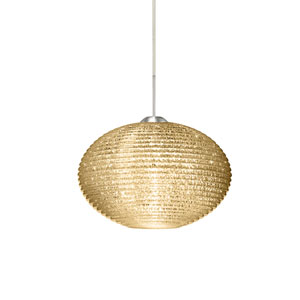 Pape 10 Satin Nickel 10.One-Light LED Pendant with Gold Glitter Glass, Flat Canopy