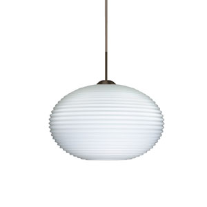 Pape 12 Bronze One-Light LED Pendant with Opal Ribbed Glass, Flat Canopy