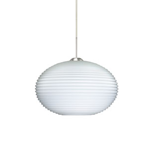 Pape 12 Satin Nickel One-Light LED Pendant with Opal Ribbed Glass, Flat Canopy