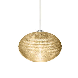 Pape 12 Satin Nickel One-Light LED Pendant with Gold Glitter Glass, Flat Canopy