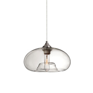 Bana Satin Nickel One-Light Pendant with Clear Glass