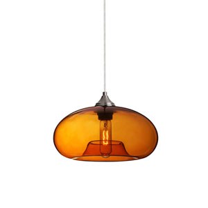 Bana Satin Nickel One-Light Pendant with Amber Glass