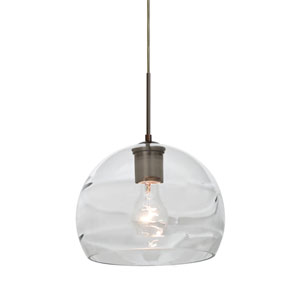 Spirit Bronze One-Light Cord Mini Pendant with Clear Shade