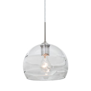 Spirit Satin Nickel One-Light Cord Mini Pendant with Clear Shade