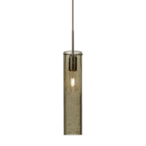 Juni 16 Bronze One-Light Mini Pendant with Latte Bubble Glass