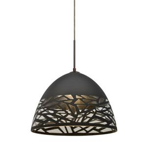 Kiev Bronze One-Light LED Mini Pendant with Black Shade
