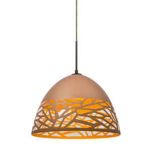 Kiev Bronze One-Light LED Mini Pendant with Copper Shade