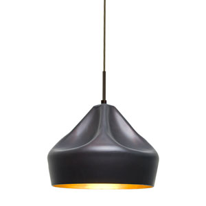 Lotus Bronze One-Light Mini Pendant with Gold Reflector Shade