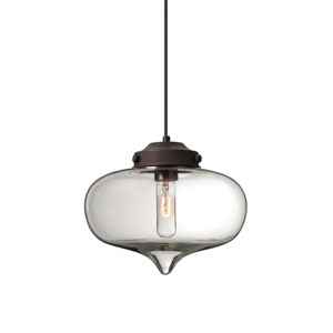 Mira Bronze One-Light Pendant with Clear Glass