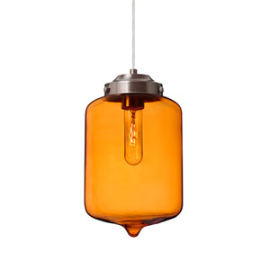 Olin Satin Nickel One-Light Mini Pendant with Amber Glass