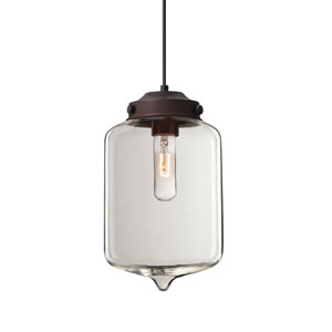 Olin Bronze One-Light Mini Pendant with Clear Glass