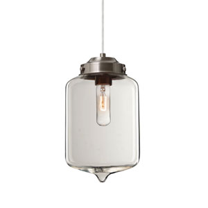 Olin Satin Nickel One-Light Mini Pendant with Clear Glass