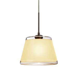 Pica 9 Bronze 8.One-Light Pendant with Creme Sand Glass, Flat Canopy