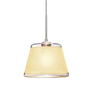 Pica 9 Satin Nickel 8.One-Light Pendant with Creme Sand Glass, Flat Canopy