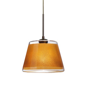 Pica 9 Bronze 8.One-Light Pendant with Gold Sand Glass, Flat Canopy