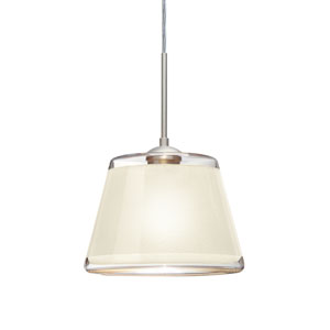 Pica 9 Satin Nickel 8.One-Light Pendant with White Sand Glass, Flat Canopy