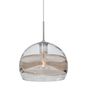 Spirit Satin Nickel One-Light 10-Inch Cord Mini Pendant with Clear and Smoke Shade
