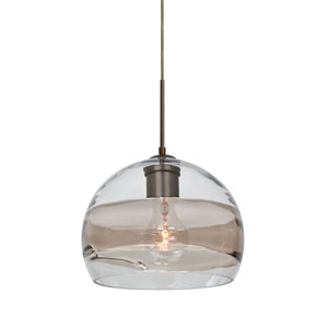 Spirit Bronze One-Light 8-Inch Cord Mini Pendant with Clear and Smoke Shade