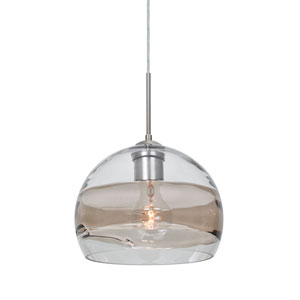 Spirit Satin Nickel One-Light Cord Mini Pendant with Clear and Smoke Shade