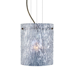 Tamburo 8 8 Bronze One-Light Incandescent 120v Mini Pendant with Flat Canopy, Cable, and Clear Stone Glass