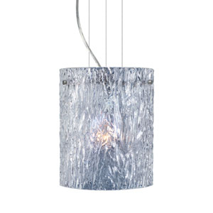 Tamburo 8 8 Satin Nickel One-Light Incandescent 120v Mini Pendant with Flat Canopy, Cable, and Clear Stone Glass